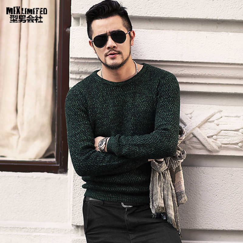 New Dark Green Mixed Colour Men\u0027s Round Collar Sweater for Winter Wear  Men\u0027s Slim Long Sleeve Casual Warm Knitted Pullovers J784