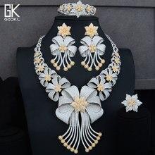 GODKI GRANDE Luxo 4 pcs Africano Conjuntos de Jóias Para Mulheres Casamento AAA Cubic Zirconia Cristal CZ Noivado DUBAI conjunto De Jóias de Noiva conjuntos