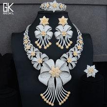 GODKI conjunto de joyas africanas de lujo para mujer, 4 piezas, Circonia cúbica AAA, cristal de CZ, compromiso, conjuntos de joyería nupcial de Dubái