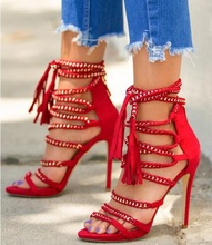 Sexy Chain Embellished Women Dress Sandals Tassel Open Toe Gladiator Shoes Red Black Fringe Strappy High Heeled