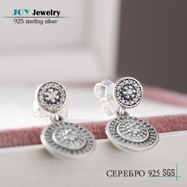 Authentic 925-Sterling-Silver Radiant Elegance Stud Earrings For Women JOY JEWELRY 2016 Spring AAA CZ Pave Brand Logo Earring