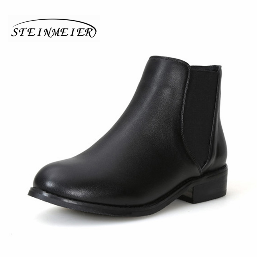 Women genuine cow Leather black ankle Boots flat Chelsea boots Comfortable soft handmade female spring short boots Shoes spring autumn boots women soft footwear classic boots female comfortable outdoor shoes aa20131