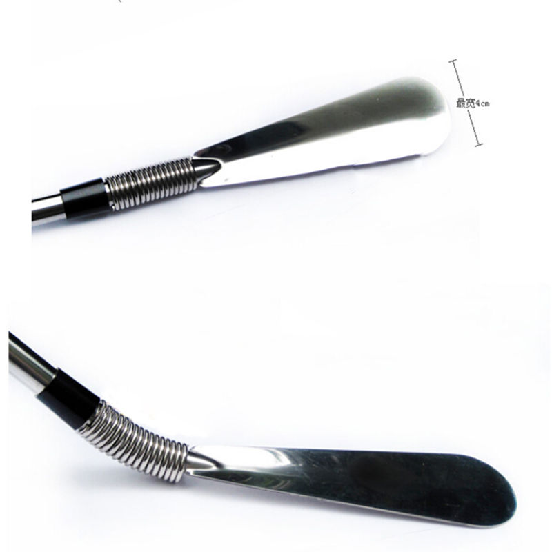 1PCS Silver Stainless Steel Shoe Horns 58cm Flexible Long Handle Shoehorn Shoe Horn AID Stick 40cm wood shoehorn long handled shoe horn