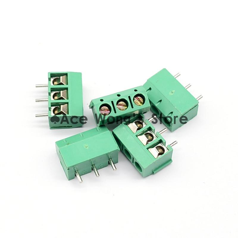 10PCS 5.08-301-3P 301-3P 3 Pin Screw Green Terminal Block Connector 5mm Pitch free shipping one lot 50pcs 3 pin way 3 81mm pitch terminal block connector pcb mounted 1v 3 81 3p