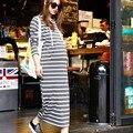 Novos Vestidos de Maternidade Com Capuz Listrada Gravidez Roupas Coreano Vestido de Maternidade Grávida Roupas 6MDS071