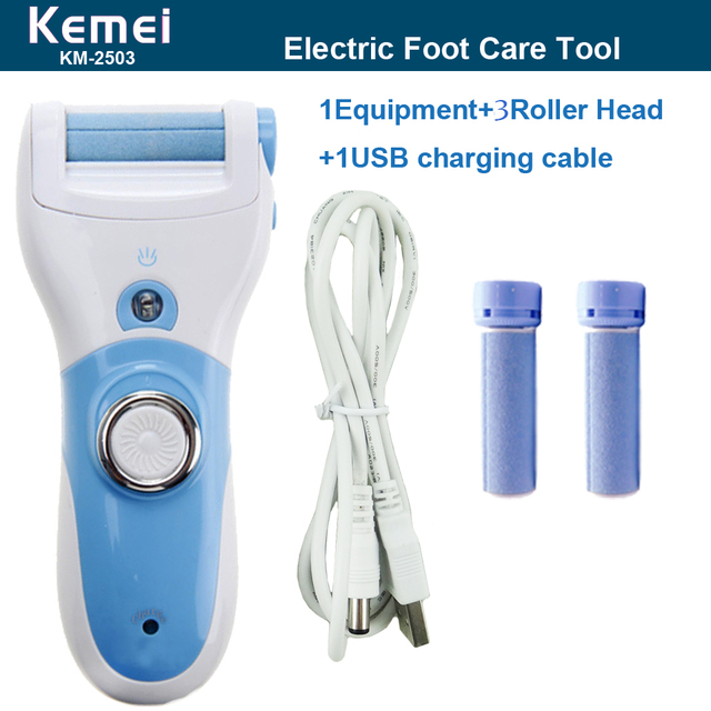 Kemei Rechargerable Pedicure New Model For Foot Smooth Blue Electric Pedicure Tools Foot Care Tool+2pcs Roller head