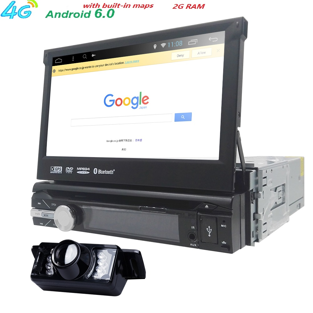 Universal 1 din Android 6.0 Quad Core Car DVD player GPS Wifi BT Radio BT 2GB RAM 32GB ROM16GB 4G SIM Network Steering wheel RDS android 5 1 car radio double din stereo quad core gps navi wifi bluetooth rds sd usb subwoofer obd2 3g 4g apple play mirror link