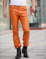 Free shipping 2020 New style Fashion leather pants Men orange Slim leather pants Nightclub male Plue Size trousers 29 39