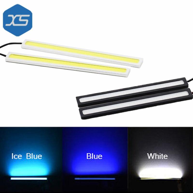 Одна пара 12 В супер тонкий яркий белый,синий,голубой лед автомобилей дневного света бар cob светодиодные DRL 17см, cob светодиодные DRL