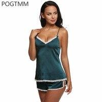 Pajamas Set Summer Satin Nightwear Suit Women Sexy V Neck Lace Top And Shorts Pyjamas Lady