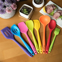 8pcs Silicone Kitchen Cooking Tools With Colorful Stainless Steel Handle Cooking Utensil Set