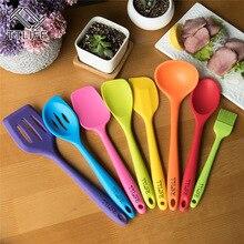 TTLIFE 8 unids de silicona Utensilios De Cocina Cocina con Colorido Mango De Acero Inoxidable Utensilios De Cocina Set