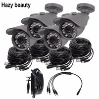Hazy Beauty 1MP AHD 3 6mm Outdoor Bullet Security Cameras With IR Pack Of 4 With