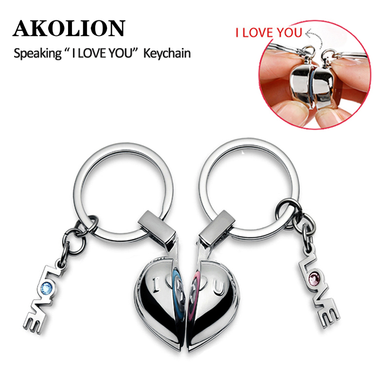 Brand Creative Heart Speaking I love you keychain Key chain Rings for Women Couple Lover Key Ring Novelty Gift Trinket брелок couple lover keychain