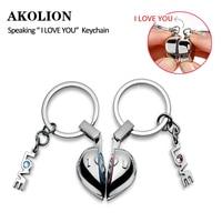 Brand Creative Heart Speaking I love you keychain Key chain Rings for Women Couple Lover Key Ring Novelty Gift Trinket