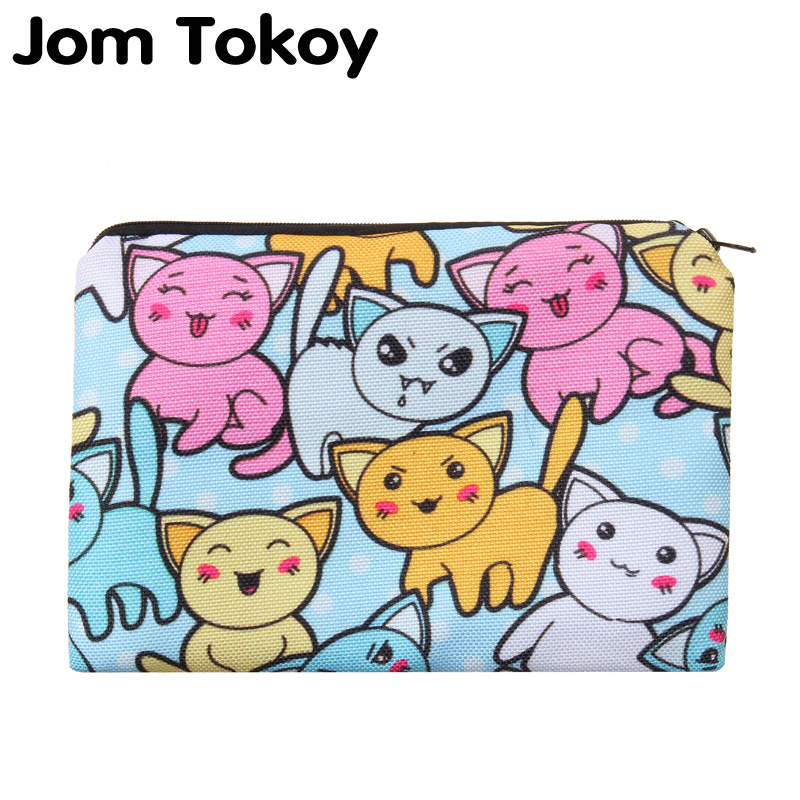 Cartoon cats Portable Type Make up Bags Cosmetic Case Maleta de Maquiagem Bags Storage Travel Makeup Bag Brand Pencil case cosmetic bags kawaii cartoon pencil pen case cosmetic makeup bag zipper travel pouch case large contain bags mala de maquiagem 2