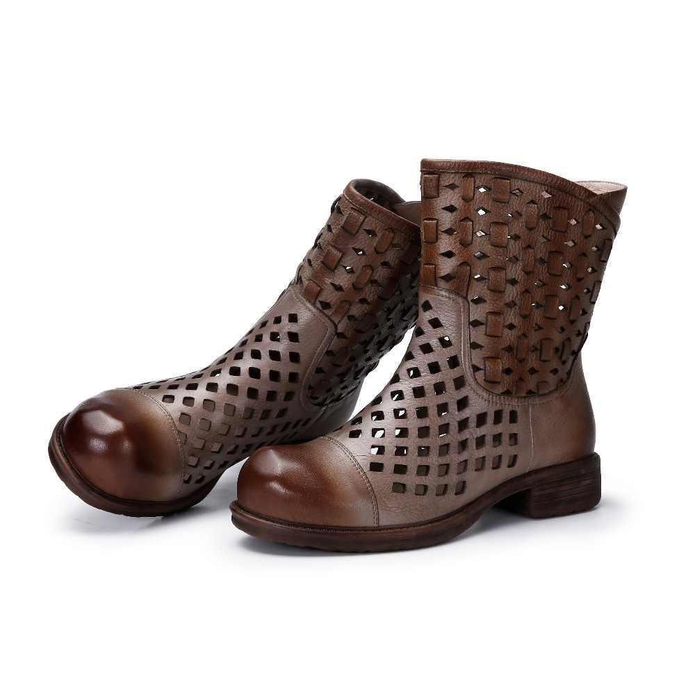 2019 VALLU Serin Bot Ayakkabı Kadın Hakiki Deri Hollow Out Kare Düşük Topuklar Üzerinde Kayma Orta Buzağı Çizmeler Bayanlar Yaz ayakkabı Sandalet