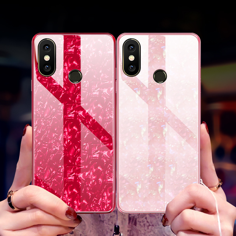 Bling Shell Tempered Glass Cases For Xiaomi Mi A2 Lite Case Luxury TPU Frame Hard Cover For Xiaomi Redmi 6 Pro Capa