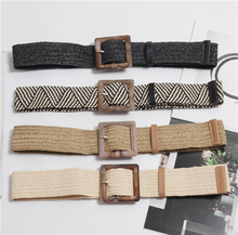 Wax Rope Braiding women belt Square Buckle Skirt Belt Womans Vintage Knitted Waist Woven Female Elastic Braided BZ40