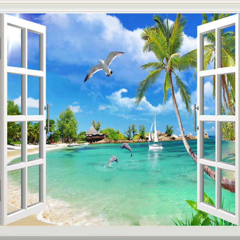 사용자 정의 벽화 벽지 해변 돌고래 갈매기 해변 사진 벽 종이 거실 tv 침실 홈 장식 papel de parede sala 3d