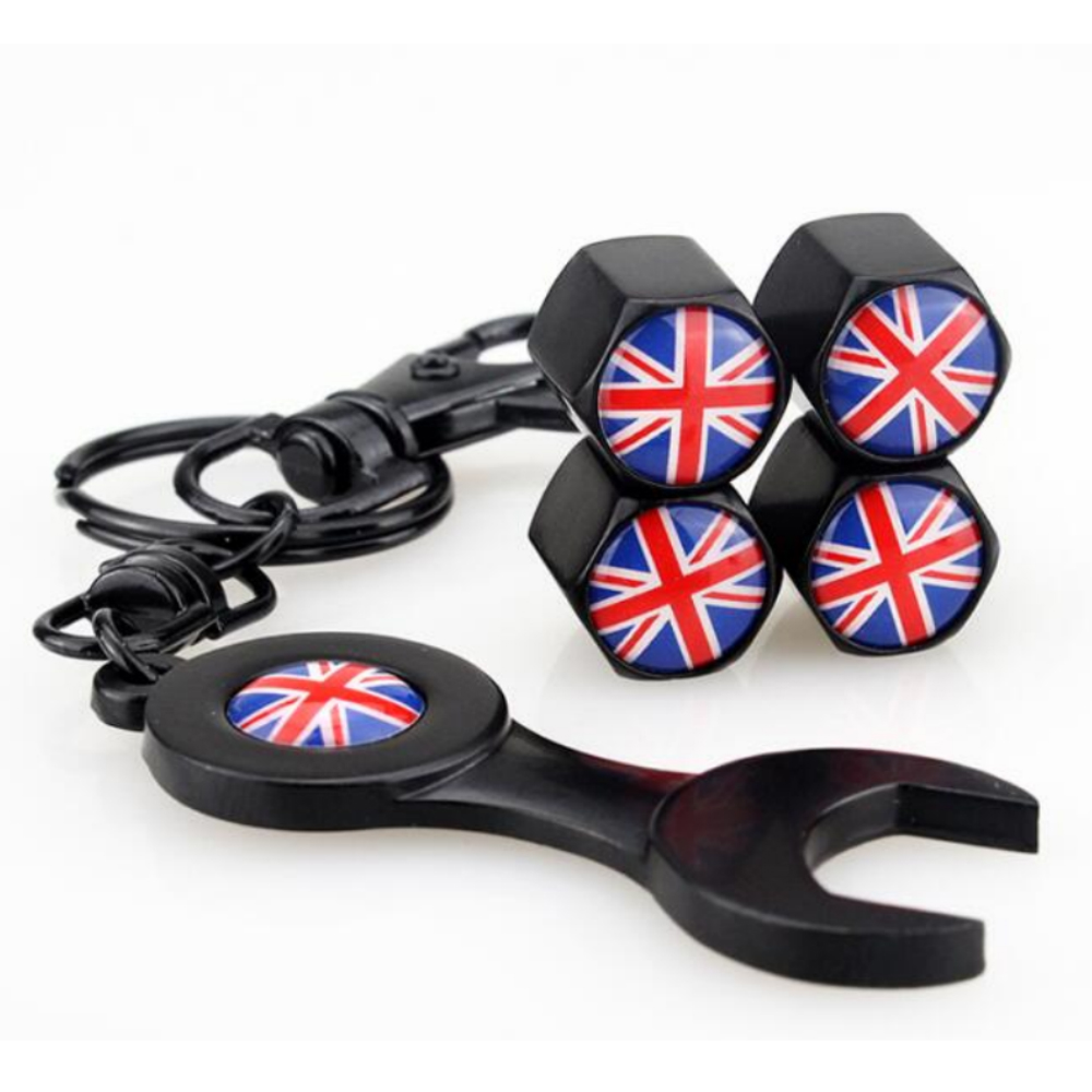 4pcs Automobiles Accessories England Flag Dust Air Cover Wheel Valve Stems Caps & Wrench For MINI One MINI Coopers Cabrio Smart