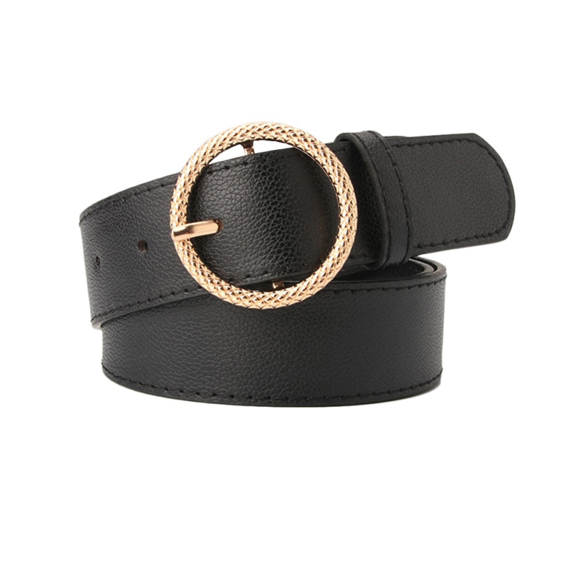 female deduction side gold buckle jeans wild belts for women fashion students simple New Circle Pin Buckles Belt(China)