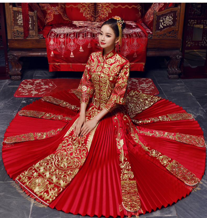 Vintage Red Bridal Embroidery Cheongsam Modern Traditional Chinese Style Wedding Dress Oriental Womens Qipao Vestidos Size S-XXL