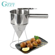 Oil Funnel Stainless Steel Takoyaki Octopus Funnel Suitable for Kitchen Takoyaki Shop jiqi octopus balls filler takoyaki stainless steel filling funnel manual waffle batter separator chocolate cream baked hopper