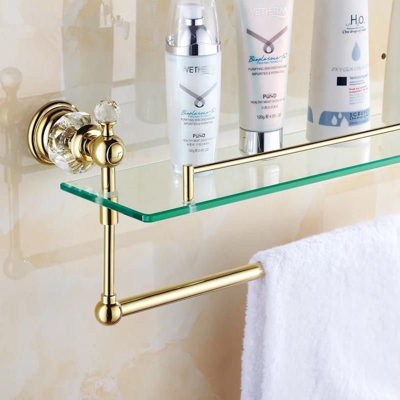 Bathroom Accessories Shelves aliexpress : buy wall mounted single tier golden crystal