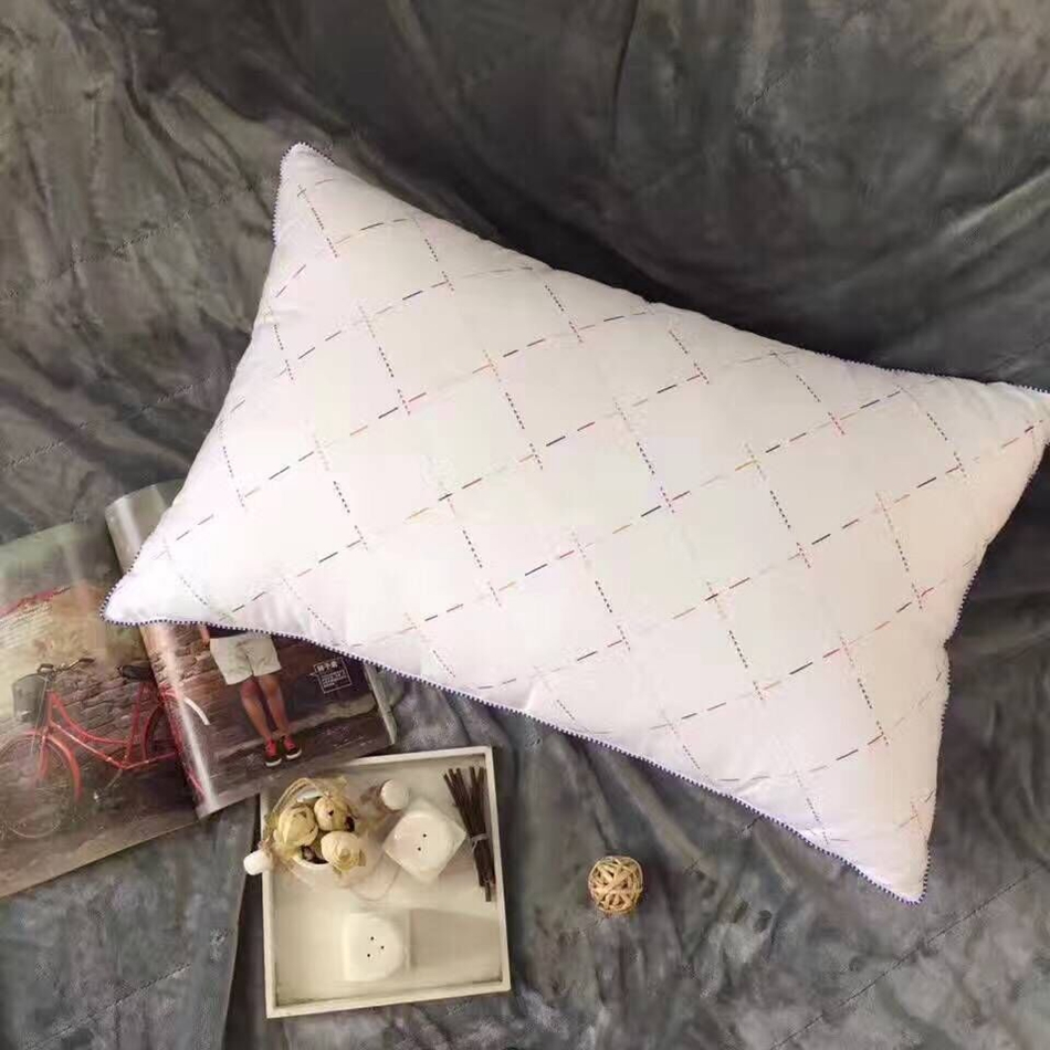 1pc Cotton White Neck Sleep Pillow For Adults Soft Rectangle 49x74cm Size Bedding For Home Solid