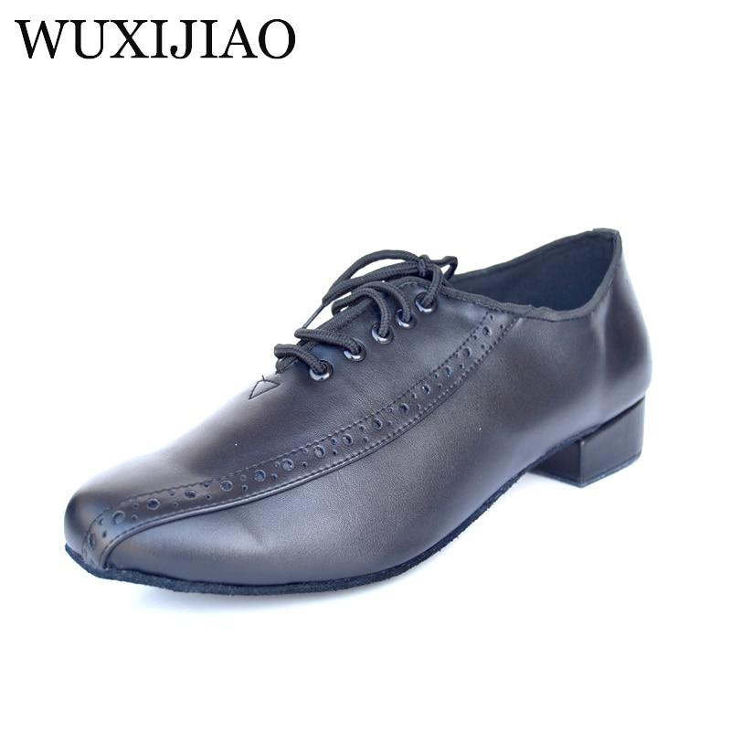WUXIJIAO Real Leather Men's Modern Dance Shoes Ballroom dancing shoes Big size 48 Tango Party Wedding Square dance shoes