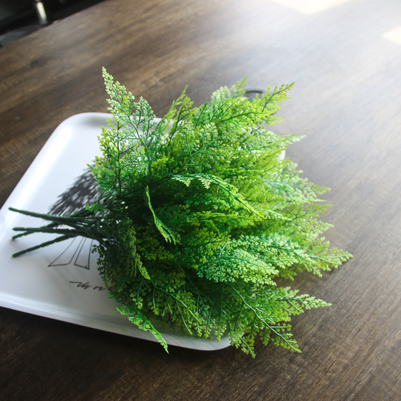 2018 New 5-fork Green Grass Artificial Plants For Plastic Flowers Household Store Dest Rustic Decoration Clover Plant Table Deco