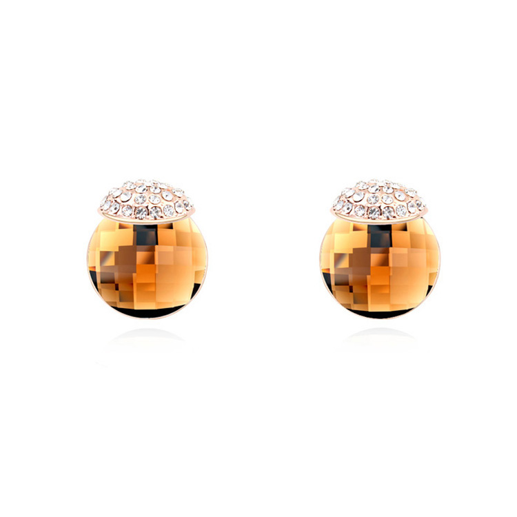 Stud Earrings Round Stone Austrian Crystal Ear Jewelry Studex ...