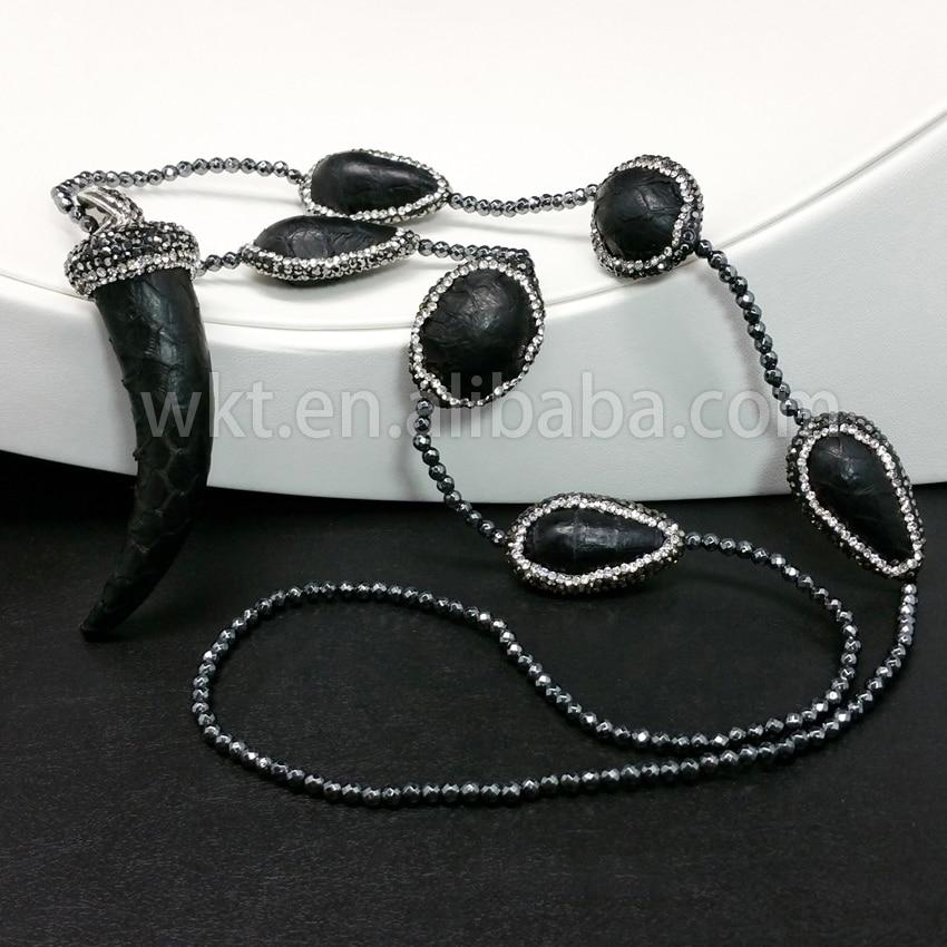 WT-NV087 Gros En Cuir pendentif Perles Nekclaces Bijoux en cuir enveloppé corne pendentif noir collier 70 cm perle chaîne collie.