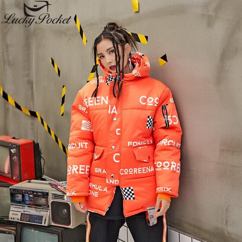 Nouveau Lettre Imprimer Chaud De Manteau D'hiver Longues Parka Femelle Veste À Lâche Capuchon Manches Femmes Treillis Mode Orange Z1000 Harajuku Épais 57Btx