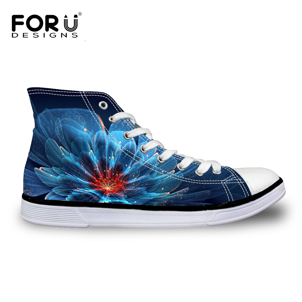 FORUDESIGNS Blue Casual Canvas Shoes Women 3D Floral Printed High Top Flat Vulcanized Shoes Zapatos Mujer Chaussure Homme Femme