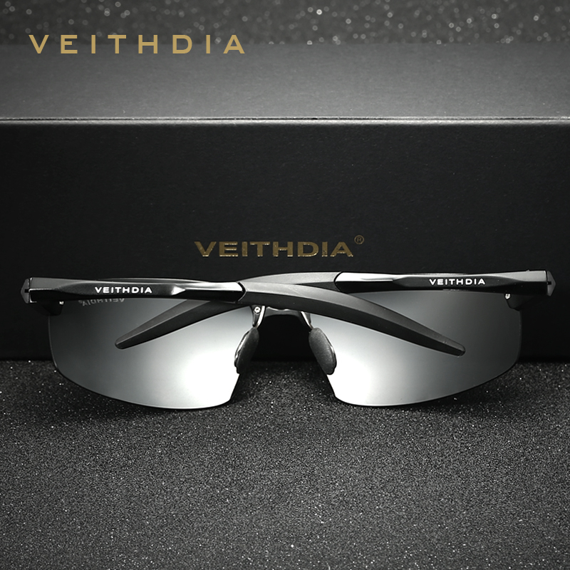VEITHDIA Aluminum Rimless mens sunglasses brand designer Polarized Sun glasses Driving Eyewear Accessories For Men shades 6518