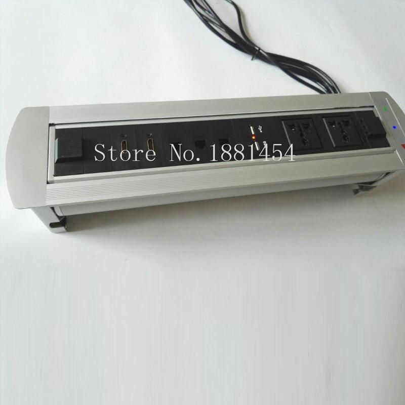 2 * Универсальный блок, 2 * Зарядка USB, 2 * HDMI, 3 * cat6, ЕС/UK/США/разъем АС, Silver/Black, моторизованный конференции мебель гнездо