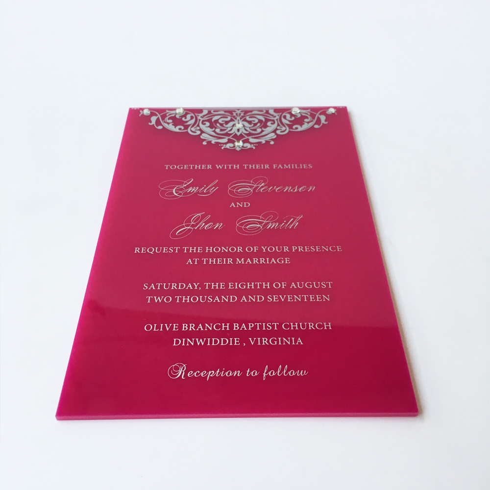 115x175mm Beautiful Burgandy color Acrylic Rectangle Shape Wedding ...