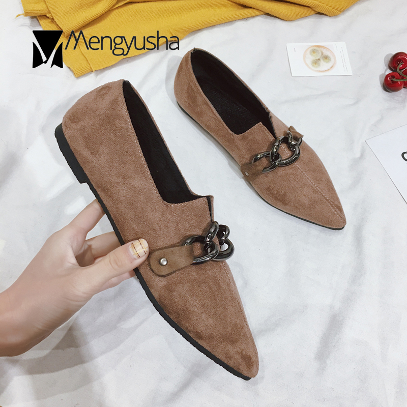 2018 Creepers Shoes Women Chains Flat Shoes Spring Fall New Pointed toe  Shallow Joker Sewing Mocasines mujer Grandma Shoes -in Women s Flats from  Shoes on ... e3b0adca9d7f