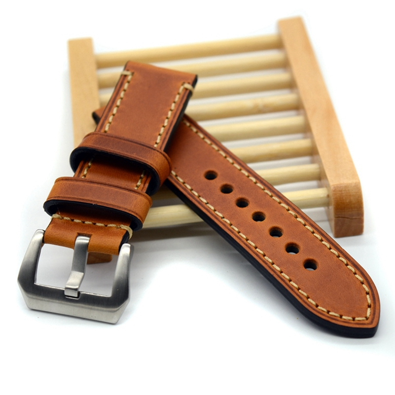 цена Hand made high Quality Fine Leather Watch Strap &Band Silver Buckle 20mm 22mm 24mm 26mm with stainless steel buckle