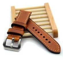 Hecho a mano de cuero fino alta calidad correa de reloj y banda para P reloj 20 mm 22 mm 24 mm 26 mm con hebilla de acero inoxidable