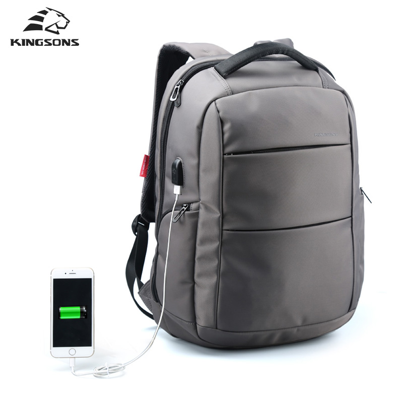 Kingsons External Charging USB Function School Backpack Anti-theft Boy's Girl's Dayback Women Travel Bag 15.6 inch