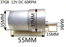 Free shipping 37GB  12V DC 60RPM High Torque Gear Box Electric Motor  Deceleration motor цены