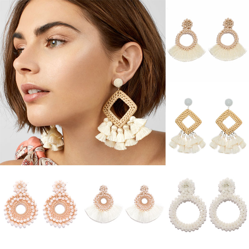 New Fashion Tassel Earrings For Women Wedding Jewelry ZA White Drop Earrings Geometric Statement Party Gift Earring Wholesale