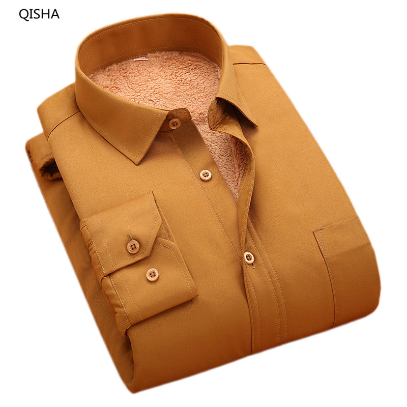 Outono e Inverno de Veludo camisas de cores Sólidas Ticken Térmica luva  Longa dos homens Camisas de Vestido de Alta Qualidade Barato China QISHA  M100X 775b04dbff2