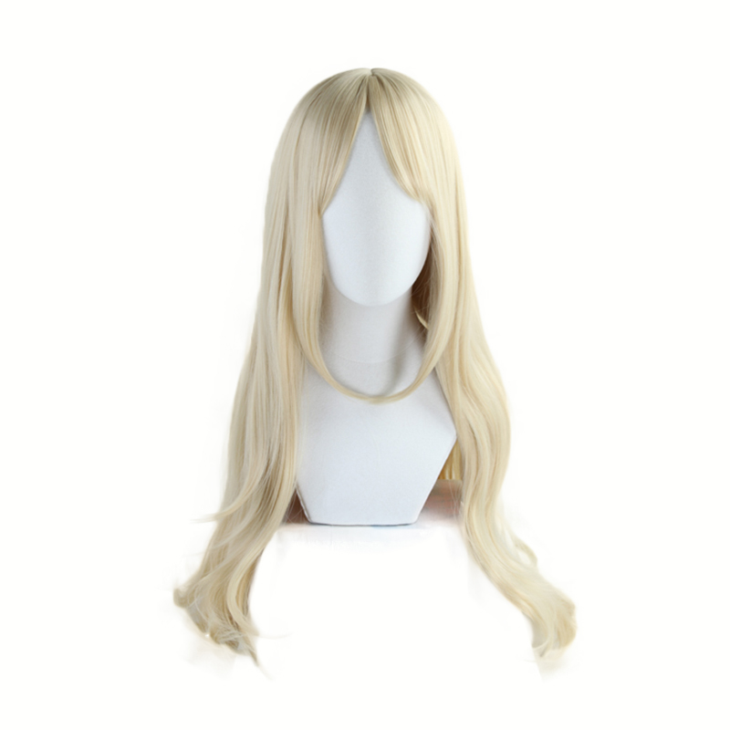 K/DA Ahri 80CM Golden Long Curly Wig Cosplay Costume KDA Women Heat Resistant Synthetic Hair Halloween Party Wigs