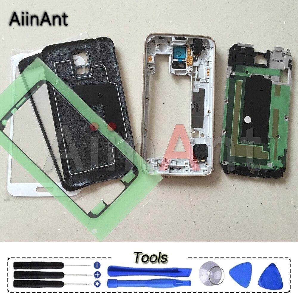 Pour Samsung Galaxy S5 G900F G900H M/V/T/P Logement Complet Moyen Avant Lunette Cadre Batterie couverture Tactile En Verre D'origine Avec Des Outils