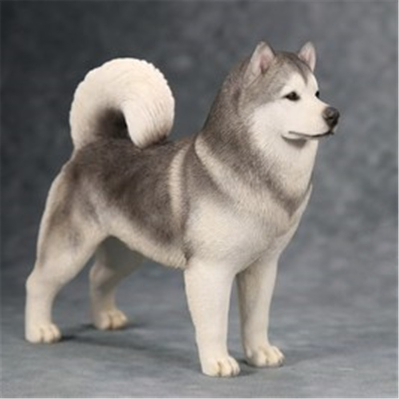 Simulation Animals Cute Puppy Statue Alaskan Malamute 1 6 Creative Home Decor Resin Action Figure Collectible