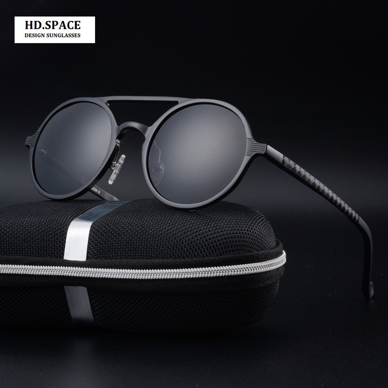 High quality men's aluminum magnesium fashion round Polarized Sunglasses lunette de soleil homme round sunglasses men